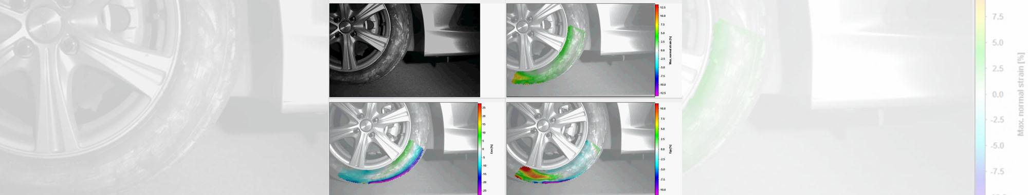 走行中のゴムタイヤの変形解析(DIC解析)