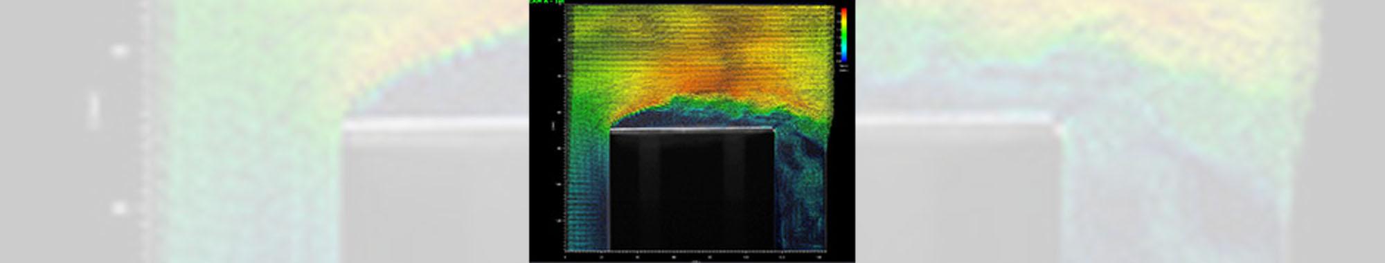 角柱周りの気流の流れの可視化、PIV解析