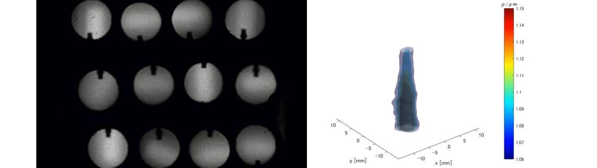 1台の高速度カメラによる時系列3次元非定常密度場計測(亜音速噴流の可視化)